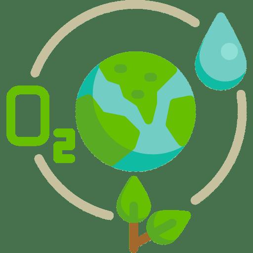 ecologie planète verte entourée d'une goute d'eau, symbole O2 et une plante