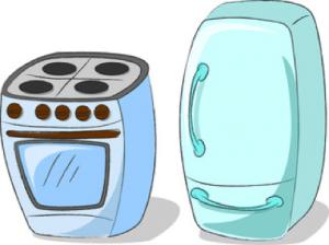 À gauche une gazinère et à droite un frigo
