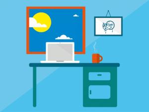 bureau vert avec un ordinateur portable dessus et une tasse de café rouge à droite. Une fenêtre au cadre rouge avec un soleil jaune et des nuages.