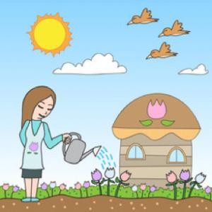 une femme arrose des plantes dans son jardin avec un arrosoir. le ciel est bleu.