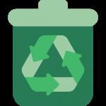 eco-note déchet poubelle verte avec le logo de recyclage au milieu signification top niveau
